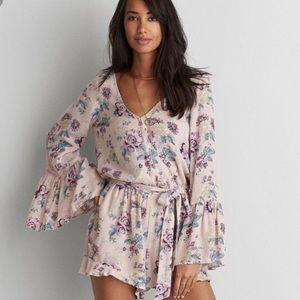 American Eagle Outfitters pink floral romper